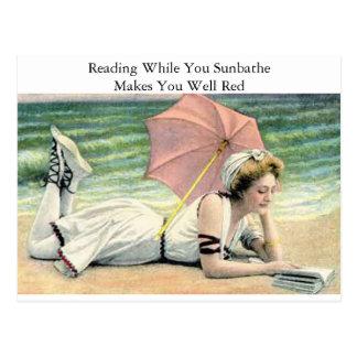 Läsningstunder solbadar du humor vykort