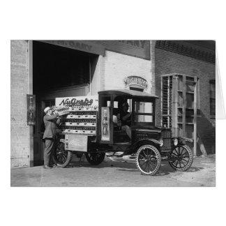 Lastbil för sodavattenpopleverans, 1924 hälsningskort