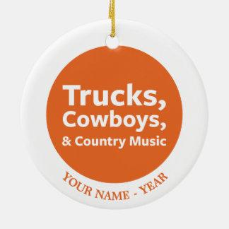 Lastbilar, Cowboys och countrymusik Julgransprydnad Keramik
