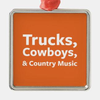 Lastbilar, Cowboys och countrymusik Silverfärgad Fyrkantigt Julgransprydnad