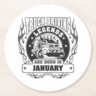 Lastbilen som kör legender, är bördiga Januari Underlägg Papper Rund