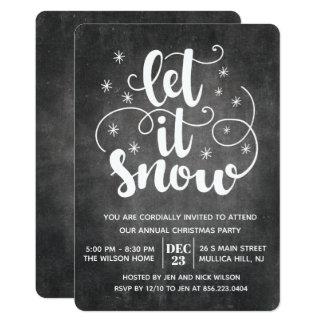 Låt det snöa modern typografivinterinbjudan 12,7 x 17,8 cm inbjudningskort