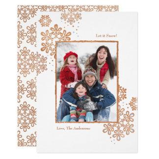 Låt det snöa rosa guld för fauxen! Fotojulkort 12,7 X 17,8 Cm Inbjudningskort