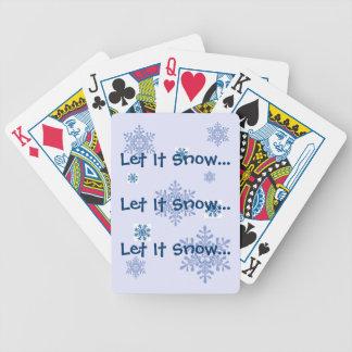 Låt det snöa snöflingor som leker kort spelkort
