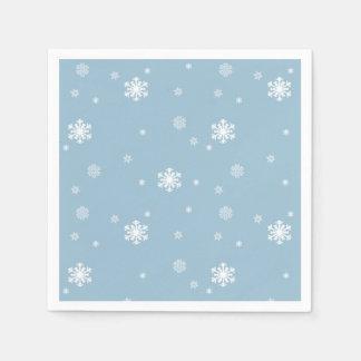 Låt det snöa snöflingormönster på blått, vinter pappersservetter