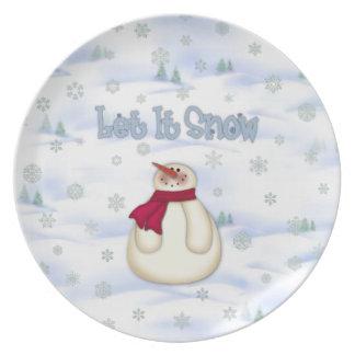Låt det snöa snögubben för att plätera tallrik