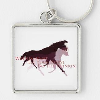 Låt din häst göra de Thinkin gåvorna Fyrkantig Silverfärgad Nyckelring