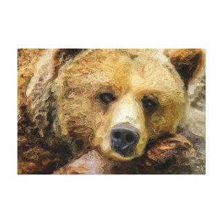 Lat Grizzlybjörnkanfas Canvastryck