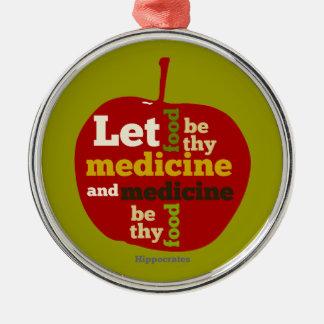 Låt mat vara thy medicin APPLE Julgransprydnad Metall