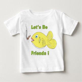 Låt oss _Be_friends_Cartoon_Fish_and_Worm T Shirt