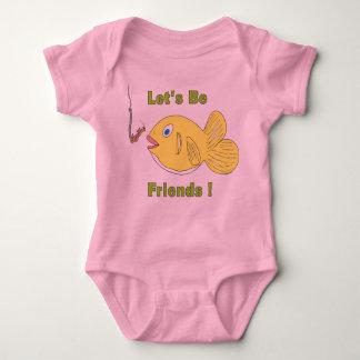 Låt oss _Be_friends_Cartoon_Fish_and_Worm Tee Shirt