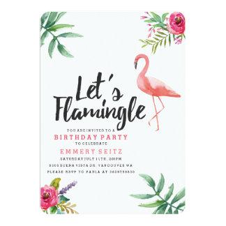 Låt oss den Flamingle födelsedagsfest inbjudan