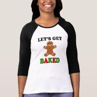 Låt oss få bakad rolig jul röker ogrässkjortan t-shirt