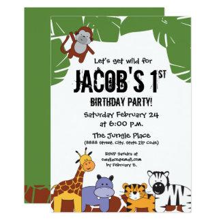 """""""Låt oss få vild"""", den 1st födelsedagen för 12,7 X 17,8 Cm Inbjudningskort"""