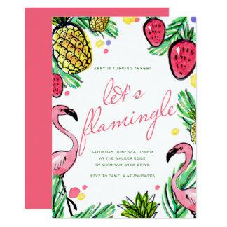 Låt oss Flamingle den tropiska födelsedagsfest 12,7 X 17,8 Cm Inbjudningskort