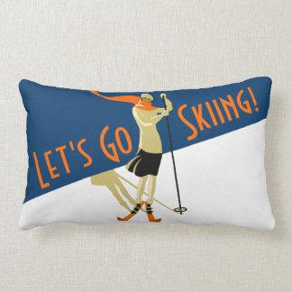 Låt oss gå skidar! VintagedesignSkiers Lumbarkudde