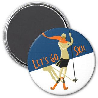 Låt oss gå skidar! VintagedesignSkiers Magnet
