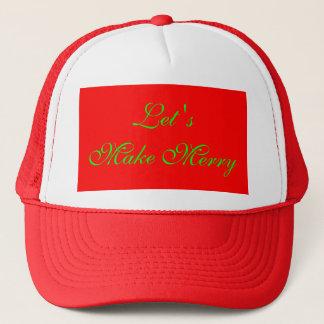 """""""Låt oss göra glad"""" röd/grön julaftondesign Keps"""