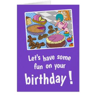 Låt oss ha någon roligt på ditt födelsedaglilakort hälsningskort
