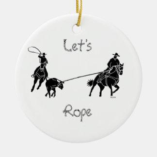 Låt oss Rope Rund Julgransprydnad I Keramik