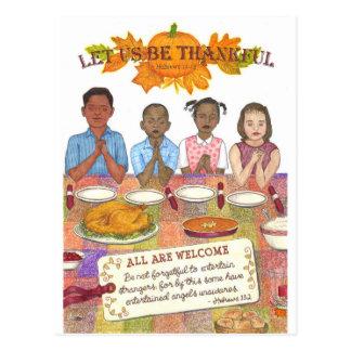 Låt oss vara den tacksamma inspirera vykortet vykort