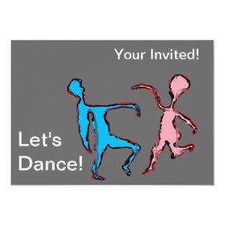 """""""låter dans"""" text och två roliga rosa & 12,7 x 17,8 cm inbjudningskort"""