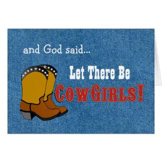 Låtet finns det Cowgirlsfödelsedagkortet Hälsningskort