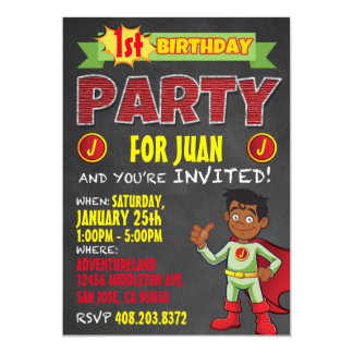 LatinoSuperheroinbjudningar. Ungefödelsedagsfest 12,7 X 17,8 Cm Inbjudningskort