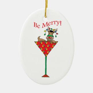 Lätt berusad-tini's ren ovalformad julgransprydnad i keramik
