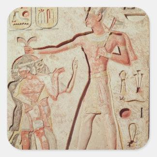 Lättnad som visar Ramesses II slå fiender Fyrkantigt Klistermärke