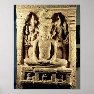 Lättnad som visar Tirthankara Mahavira Poster