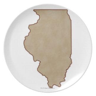 Lättnadskarta av Illinois Tallrik