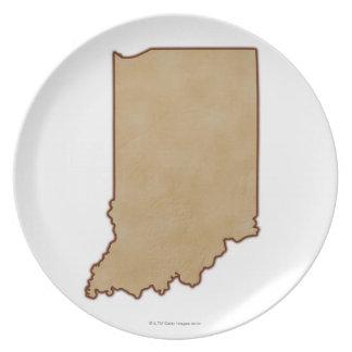 Lättnadskarta av Indiana 2 Tallrik