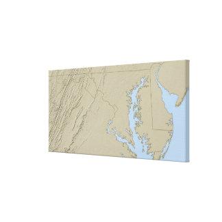 Lättnadskarta av Maryland Canvastryck