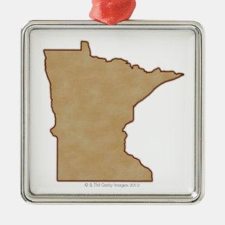 Lättnadskarta av Minnesota Julgransprydnad Metall