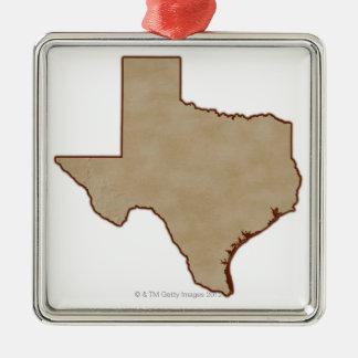 Lättnadskarta av Texas Julgransprydnad Metall