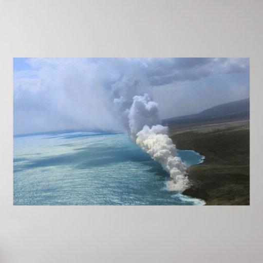 lava för vulkan för ö för kilaueakrater stor affisch