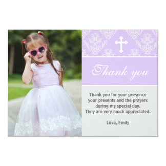 Lavendel för kort för foto för doptackkort 12,7 x 17,8 cm inbjudningskort