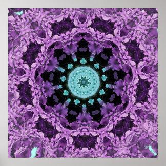 Lavendel- och turkoslövMandala Poster