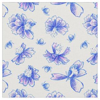 Lavendelblåa blommor skrivar och botanisk konst tyg