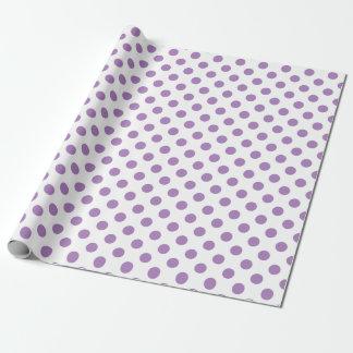 Lavendelpolka dots på vit presentpapper