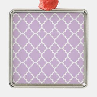 LavendelvitQuatrefoil marockanskt mönster Silverfärgad Fyrkantigt Julgransprydnad