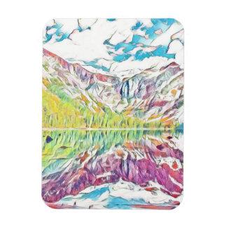 Lavin sjö i abstrakt vattenfärg magnet