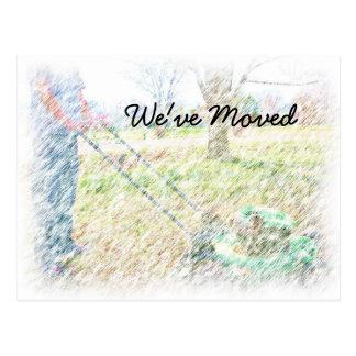 Lawnmowing vykort för vi har flyttatfärgpenna