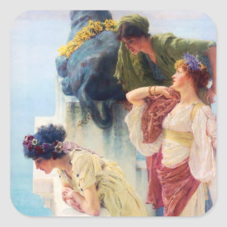 """Lawrence Alma-Tadema (1895) """"en Coign av Vantage Fyrkantigt Klistermärke"""