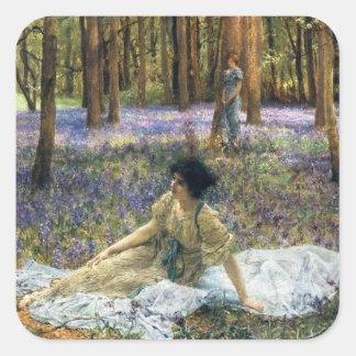 Lawrence Alma Tadema blåklockor Fyrkantigt Klistermärke