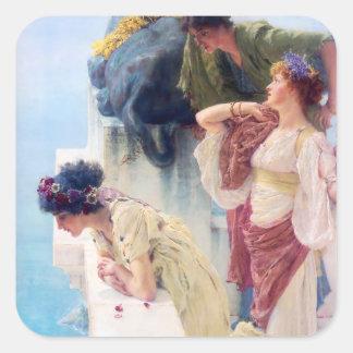 Lawrence Alma Tadema en Coign av fördelen Fyrkantigt Klistermärke
