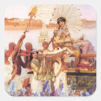 Lawrence Alma Tadema finna av Moses Fyrkantigt Klistermärke