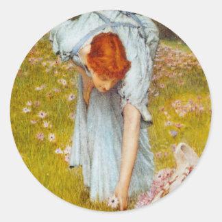 Lawrence Alma Tadema vår i trädgården Runt Klistermärke