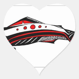 Laxinfödingkonst Hjärtformat Klistermärke